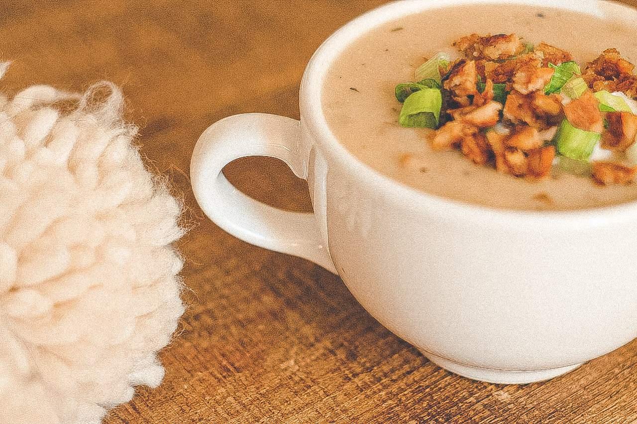 Baked Potato Soup in a large mug