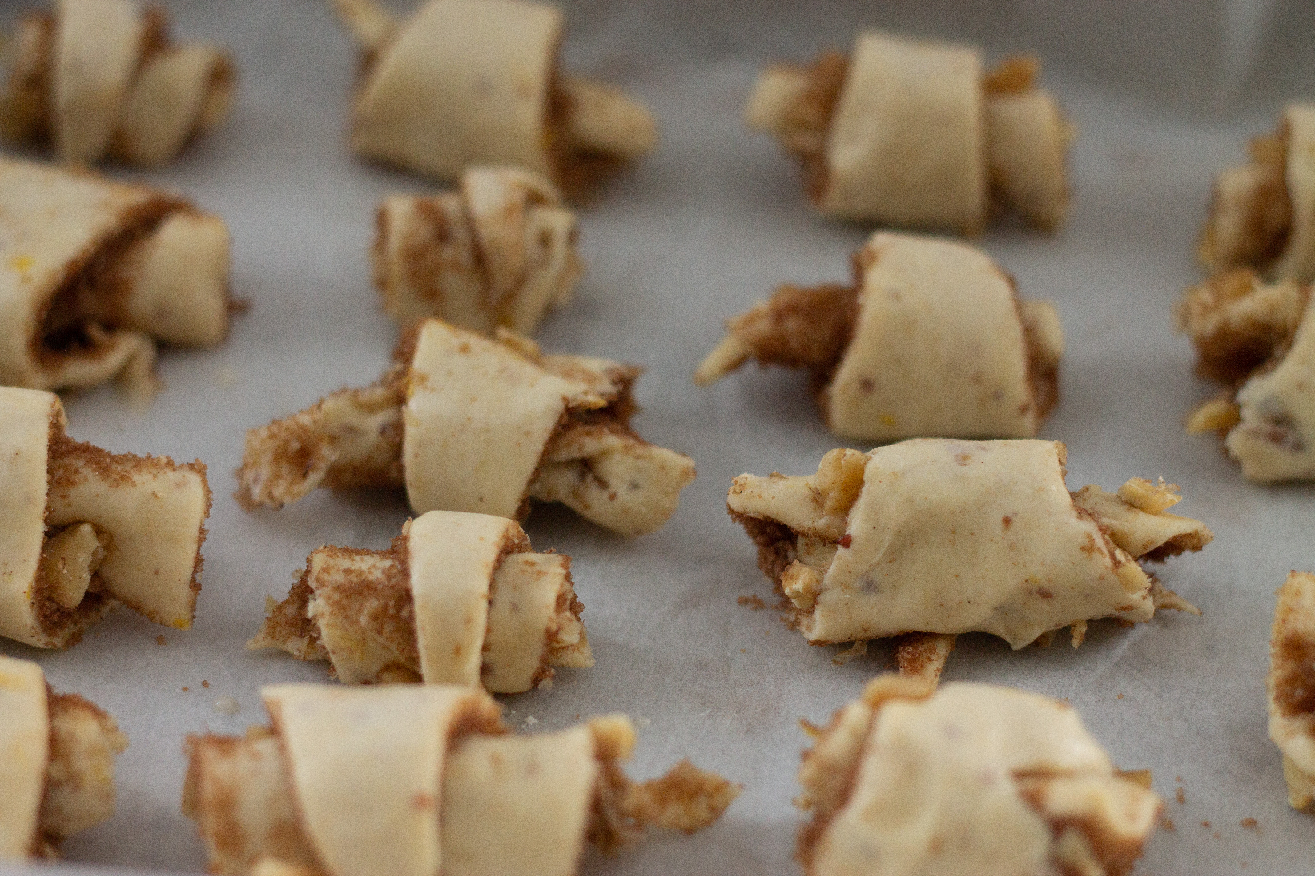 A row of rugelach ready for baking
