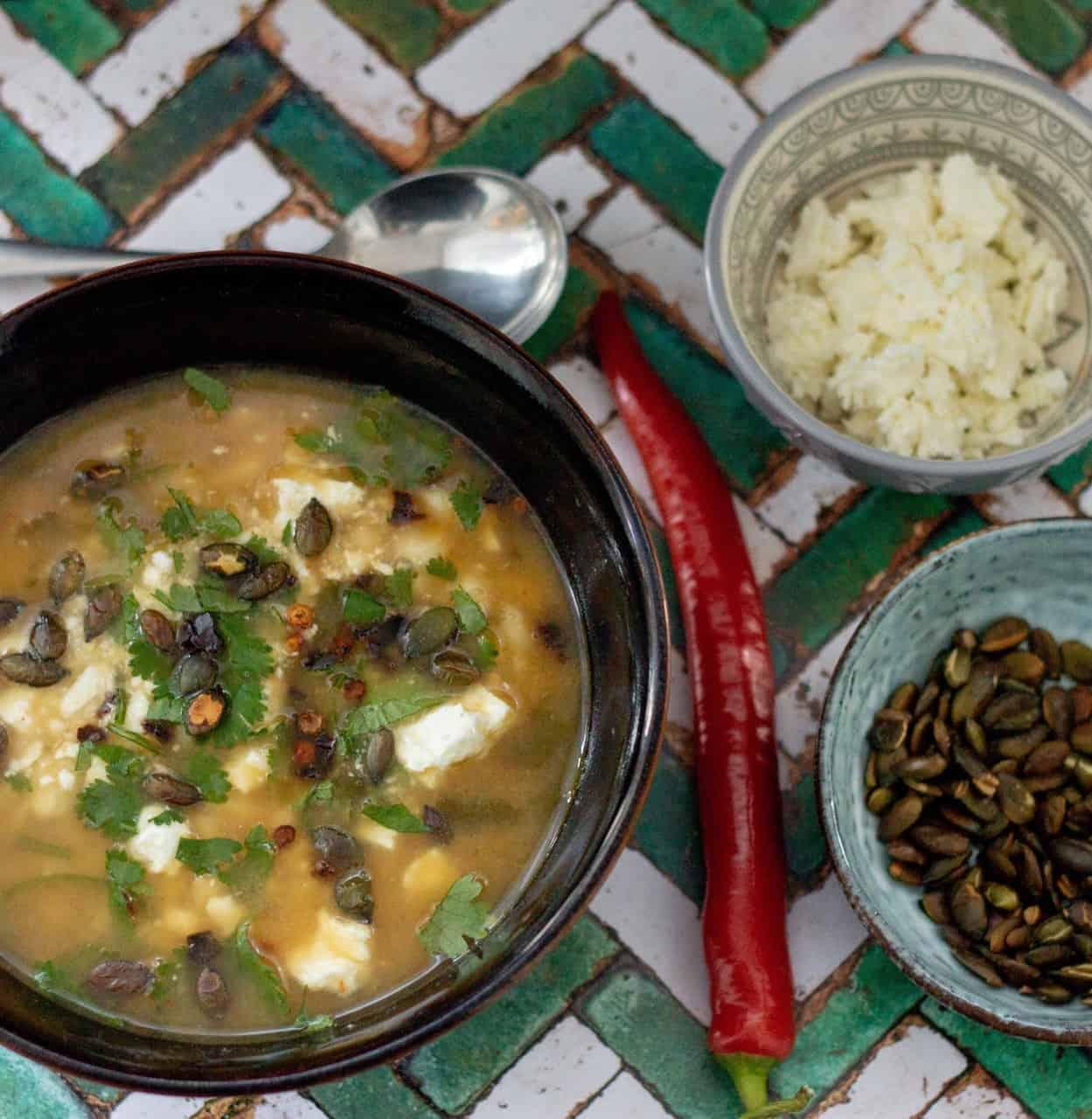 Vegan Green Chilli Hominy Soup