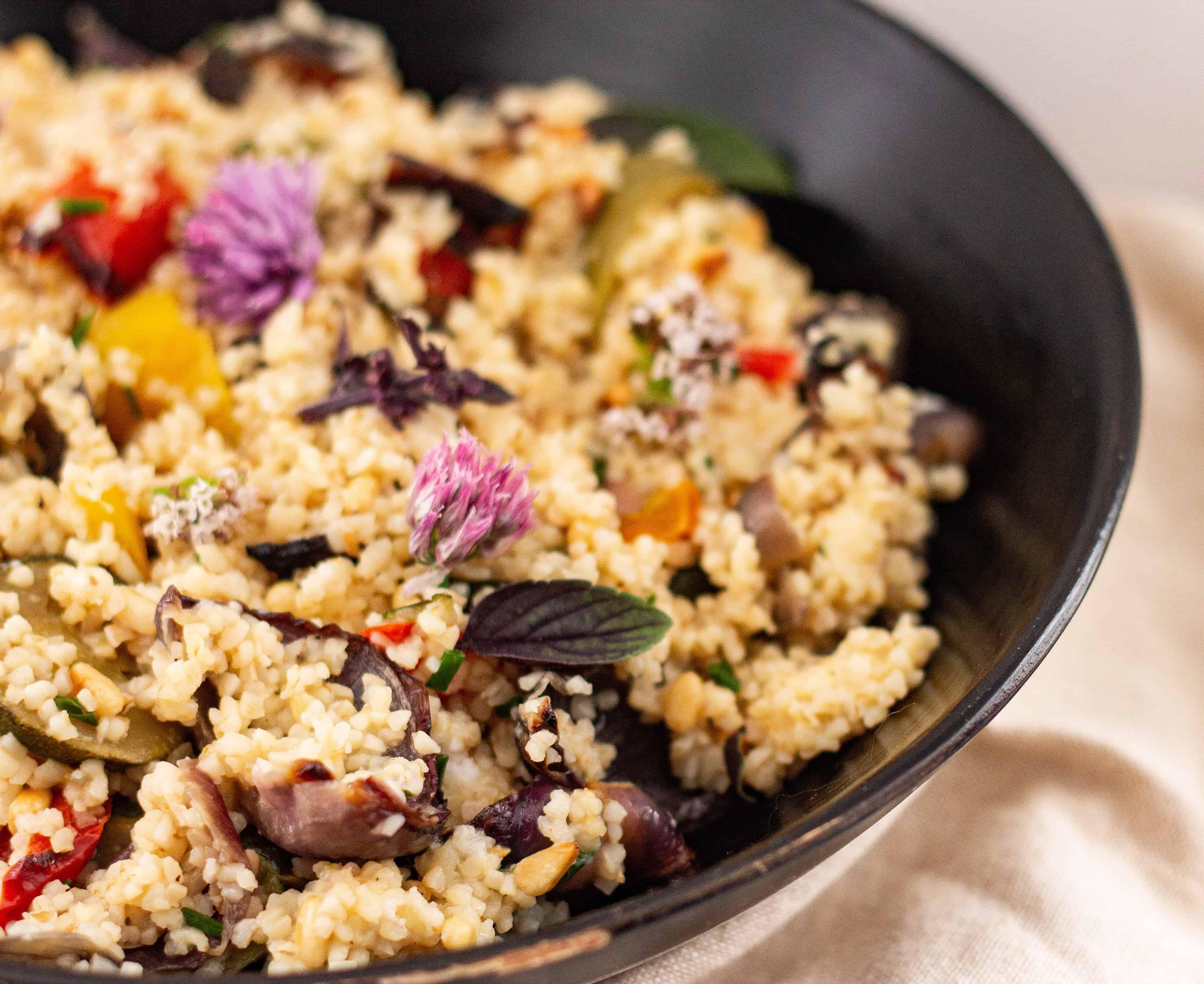 Easy Vegan Bulgar Wheat and Roast Vegetable Recipe