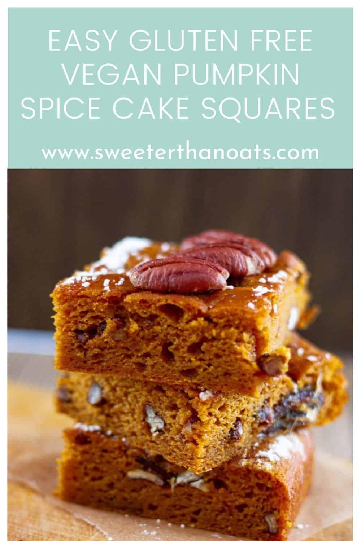 Easy Gluten Free Vegan Pumpkin Spice Cake Squares
